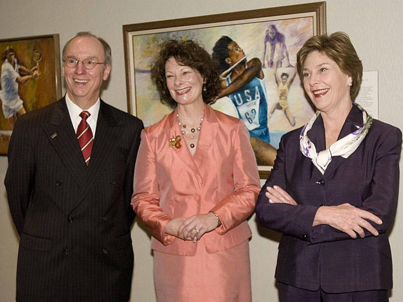 Pictured left to right: Charles R. Bantz, Sandra Petronio, Laura Bush, 2006
